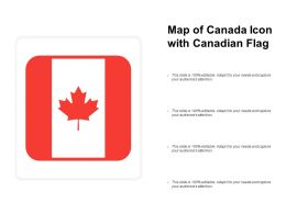 Map Of Canada Icon With Canadian Flag