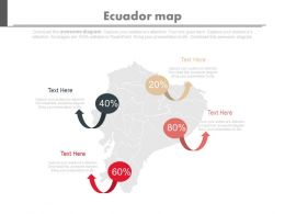 Map Of Ecuador With Percentage Chart Powerpoint Slides