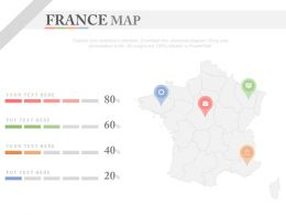 Map Of France With Location Indication Powerpoint Slides