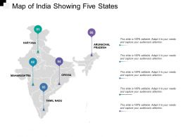 Map Of India Showing Five States