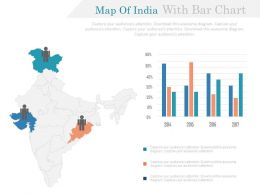 Map Of India With Bar Chart And Majority State Highlighted Powerpoint Slides