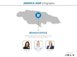 Map Of Jamaica With Branch Office Location Powerpoint Slides