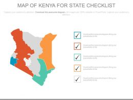 Map Of Kenya For State Checklist Powerpoint Slides