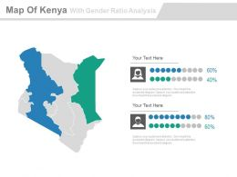 Map Of Kenya With Gender Ratio Analysis Powerpoint Slides