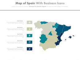 Map Of Spain With Business Icons Powerpoint Slides
