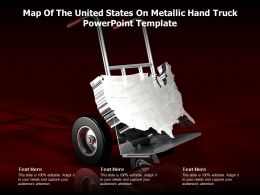 Map Of The United States On Metallic Hand Truck Powerpoint Template