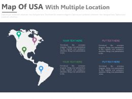 Map Of Usa With Multiple Locations Powerpoint Slides