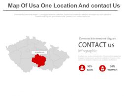 Map Of Usa With One Location And Contact Us Powerpoint Slides
