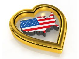 Map Style Flag Of Us Inside Heart Stock Photo
