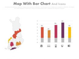 Map With Bar Chart And Icons Powerpoint Slides