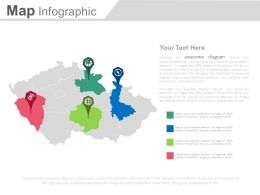 Map With Different Location Indication Powerpoint Slides