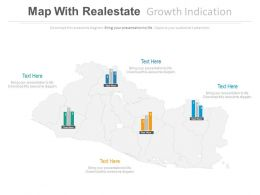 Map With Realestate Growth Indication Powerpoint Slides