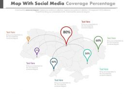 Map With Social Media Coverage Percentage Location Indication Powerpoint Slides