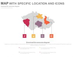 Map With Specific Locations And Icons Powerpoint Slides