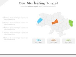 Map With Specific States For Marketing Taregt Indication Powerpoint Slides