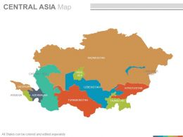 Maps Of The Central Asia Region Continent Countries In Powerpoint
