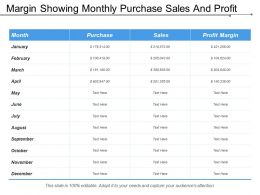 Margin Showing Monthly Purchase Sales And Profit