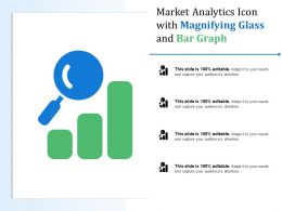 Market Analytics Icon With Magnifying Glass And Bar Graph