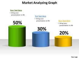 market analyzing graph shown by cylinders stacked side by side 50 30 20 full powerpoint templates