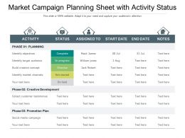 Market Campaign Planning Sheet With Activity Status