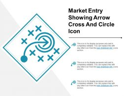 Market Entry Showing Arrow Cross And Circle Icon