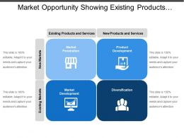 Market Opportunity Showing Existing Products Services And New Markets