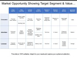 Market Opportunity Showing Target Segment And Value Proposition