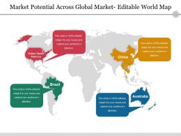 Market Potential Across Global Market Editable World Map Ppt Ideas