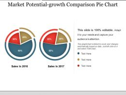 Market Potential Growth Comparison Pie Chart Ppt Infographics