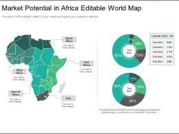 Market Potential In Africa Editable World Map Ppt Model