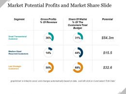 Market Potential Profits And Market Share Ppt Presentation