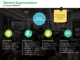 Market Segmentation Consumer Markets Geographic Demographic Psychographic Behavioral