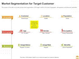 Market Segmentation For Target Customer Ppt Powerpoint Presentation Gallery Graphics Example