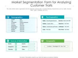Market Segmentation Form For Analyzing Customer Traits