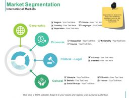 Market Segmentation International Markets Geographic Economic Cultural Political Legal