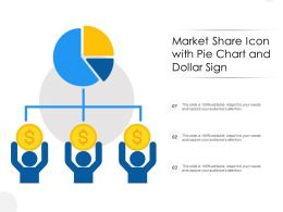 Market Share Icon With Pie Chart And Dollar Sign