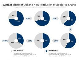 Market Share Of Old And New Product In Multiple Pie Charts