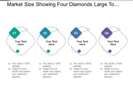 Market Size Showing Four Diamonds Large To Small With Information