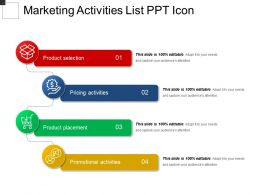 Marketing Activities List Ppt Icon