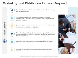 Marketing And Distribution For Loan Proposal Ppt Powerpoint Example