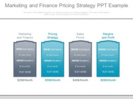 Marketing And Finance Pricing Strategy Ppt Example