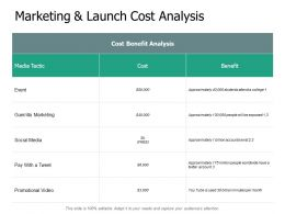 Marketing And Launch Cost Analysis Benefit Ppt Powerpoint Slides