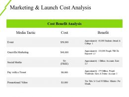 Marketing And Launch Cost Analysis Ppt Examples Slides