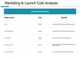 Marketing And Launch Cost Analysis Ppt Portfolio Professional