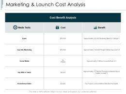 Marketing And Launch Cost Analysis Promotional Video Ppt Presentation Slides