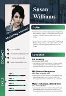 Marketing Assistant Resume Template CV Sample