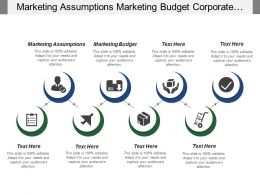 Marketing Assumptions Marketing Budget Corporate Objectives Web Marketing