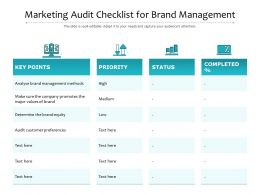 Marketing Audit Checklist For Brand Management