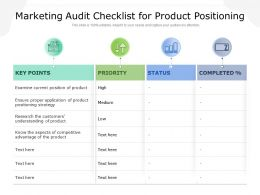 Marketing Audit Checklist For Product Positioning