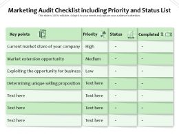 Marketing Audit Checklist Including Priority And Status List